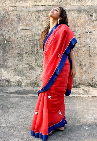 Sipra Red Chanderi Saree